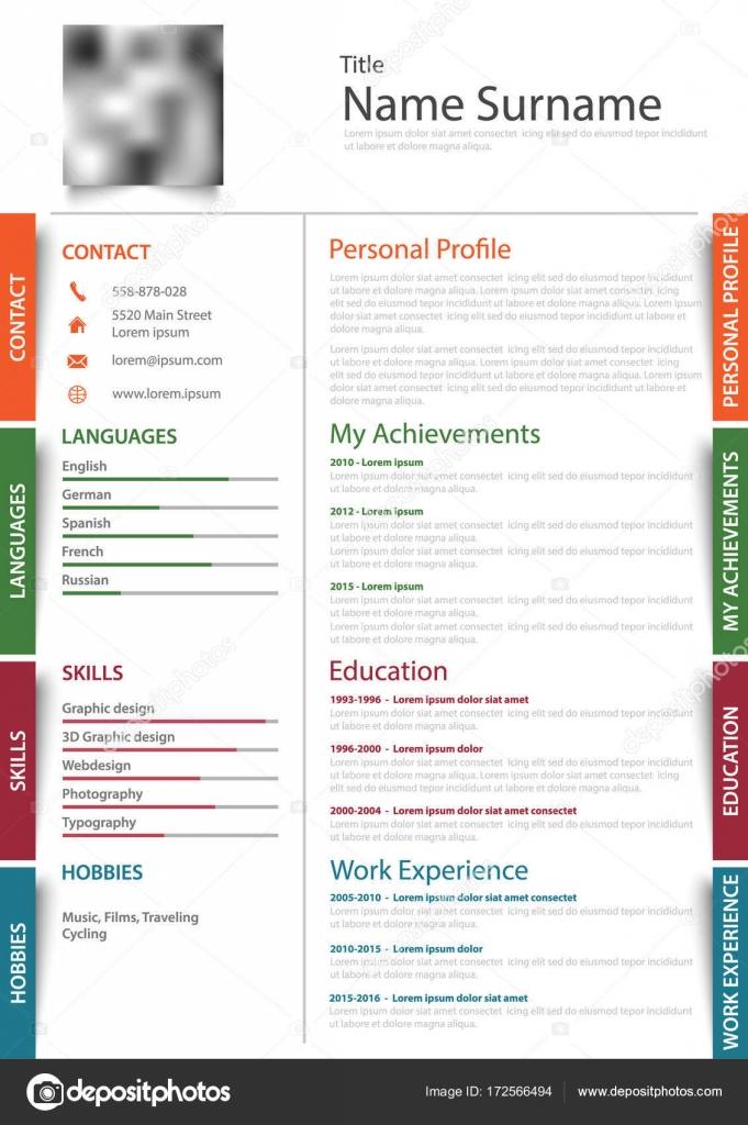 Professional Resume Cv With Colored Design Stickers Template Stock