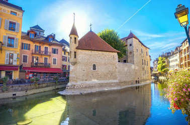 Cityscape with ancient prison (now museum) in Old Town of Annecy. France