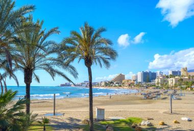 Scenic view of beach in Benalmadena town. Malaga, Andalusia, Spain