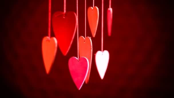 Zár-megjelöl-ból vonal-ból piros szívek, a szalag. Valentin-nap
