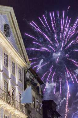 Fireworks of festival of St John of Porto, a celebration that ha
