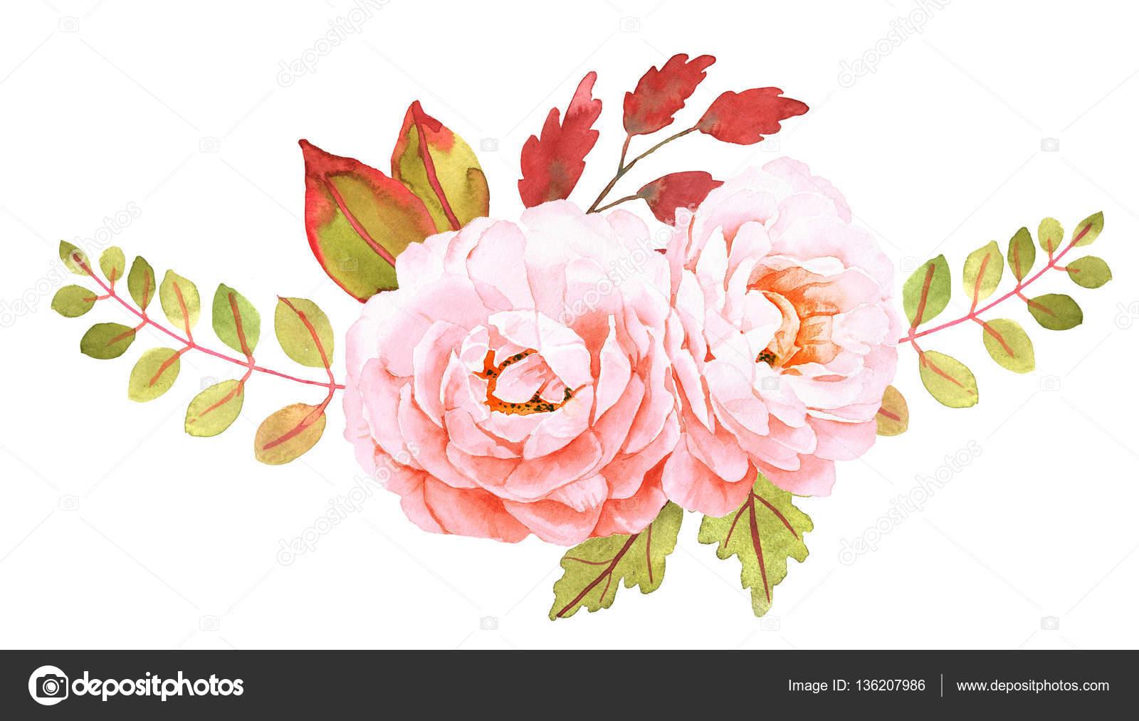 Çiçek Buketi. Düğün Davetiyesi Için Dekoratif