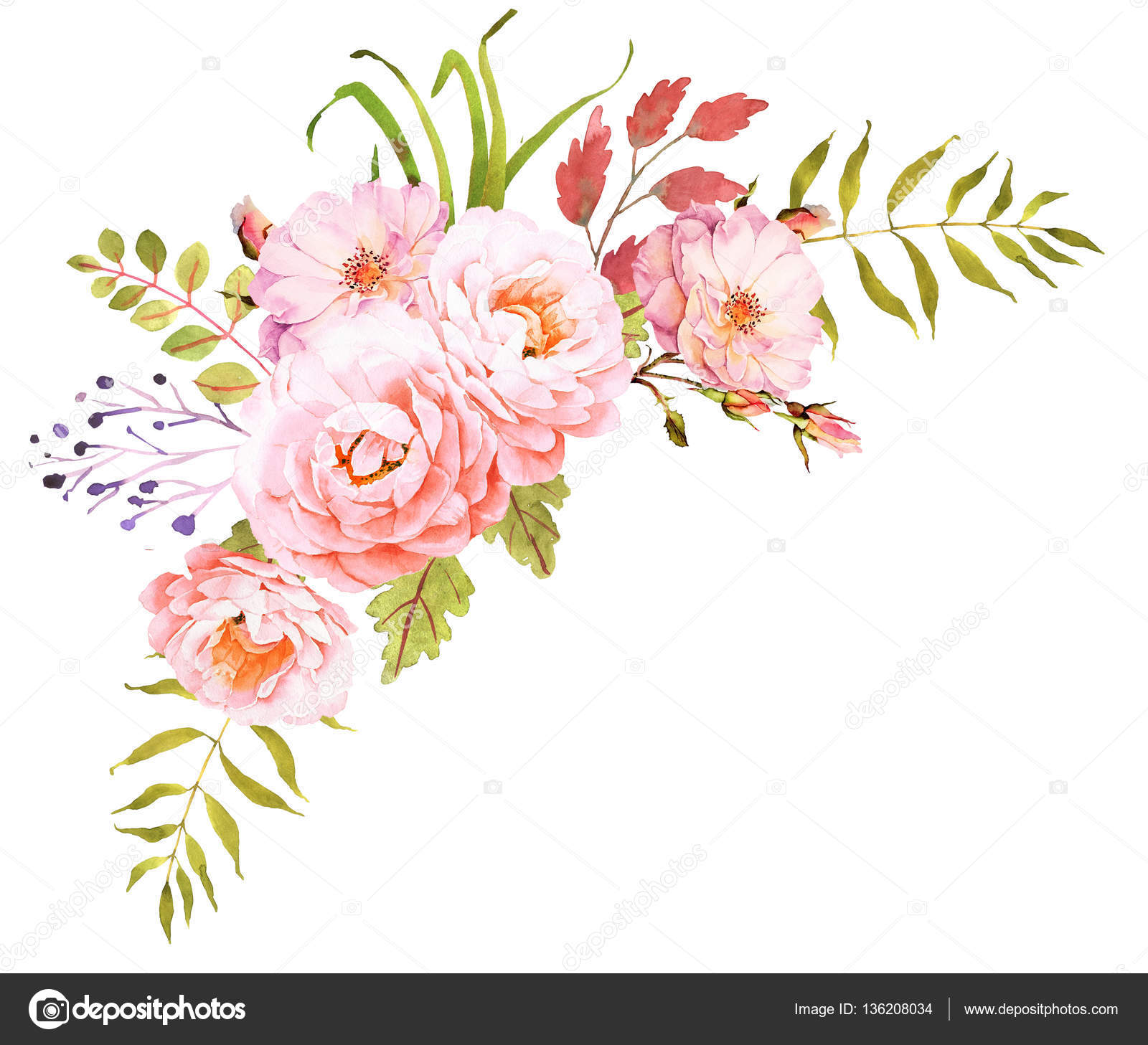 FLower bouquet. Decorative composition for wedding invitation an ...