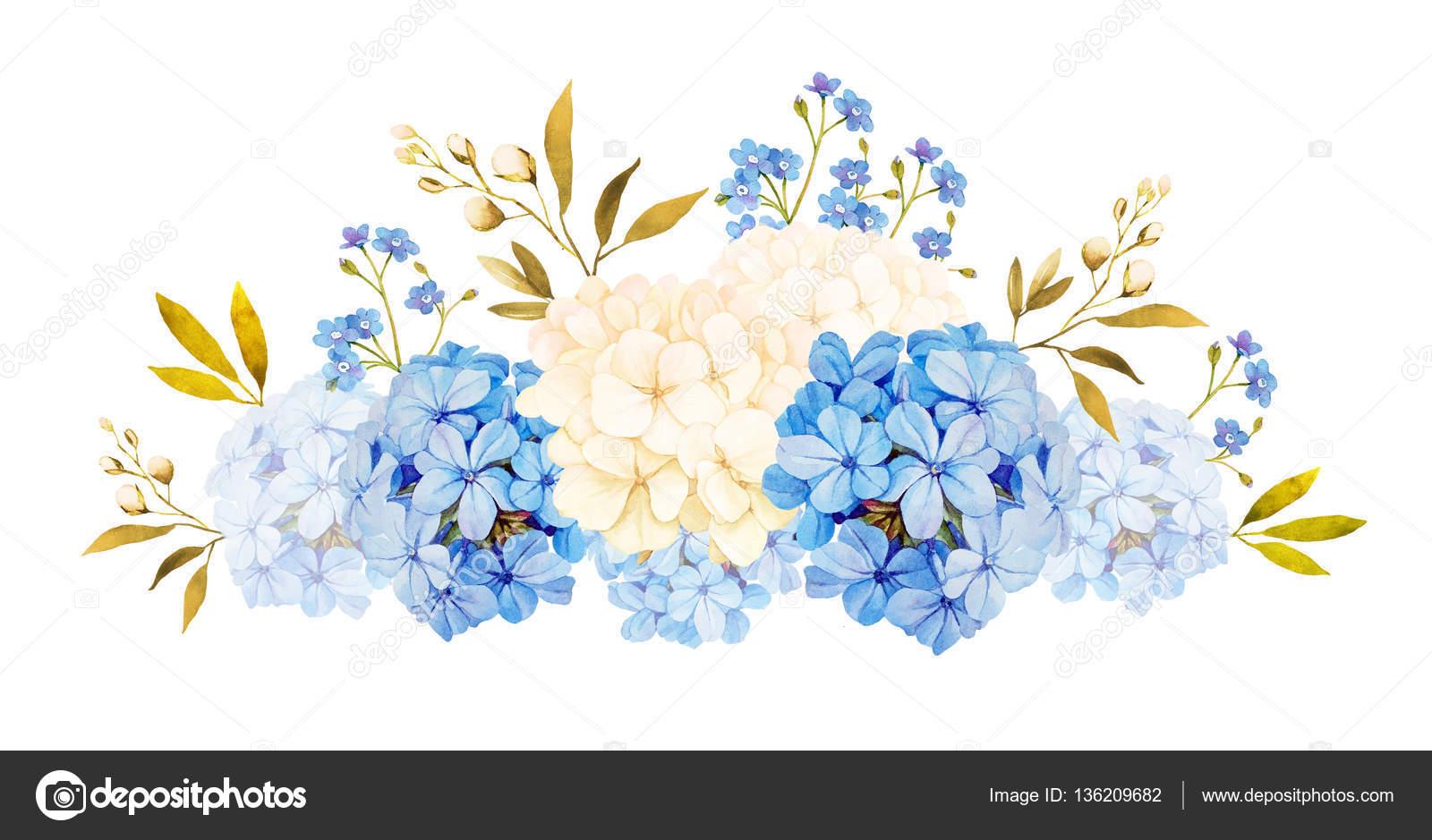 Blau Weisse Jadmine Hortensien Rosen Blumen Hochzeit Aquarell B
