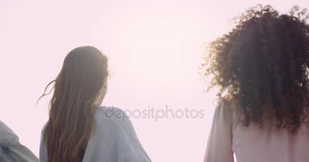 Mladí dospělí zvyšování paže s jasného slunečního světla v pozadí