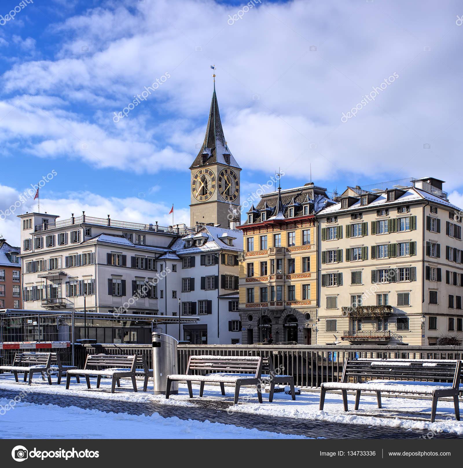 Wintertime view in zurich switzerland stock editorial for Piscine zurich