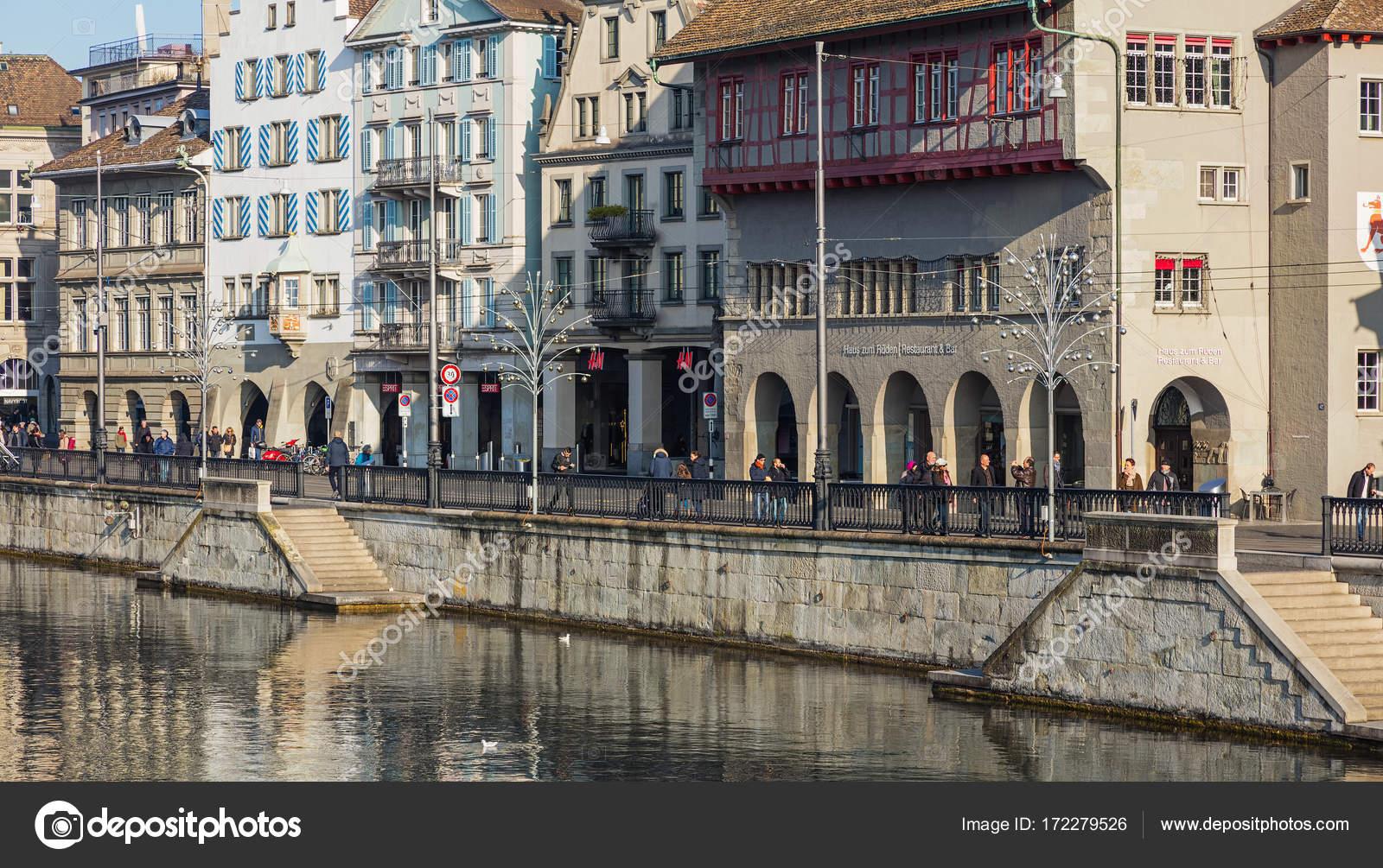 Limmatquai quay in Zurich in the advent season Stock Editorial