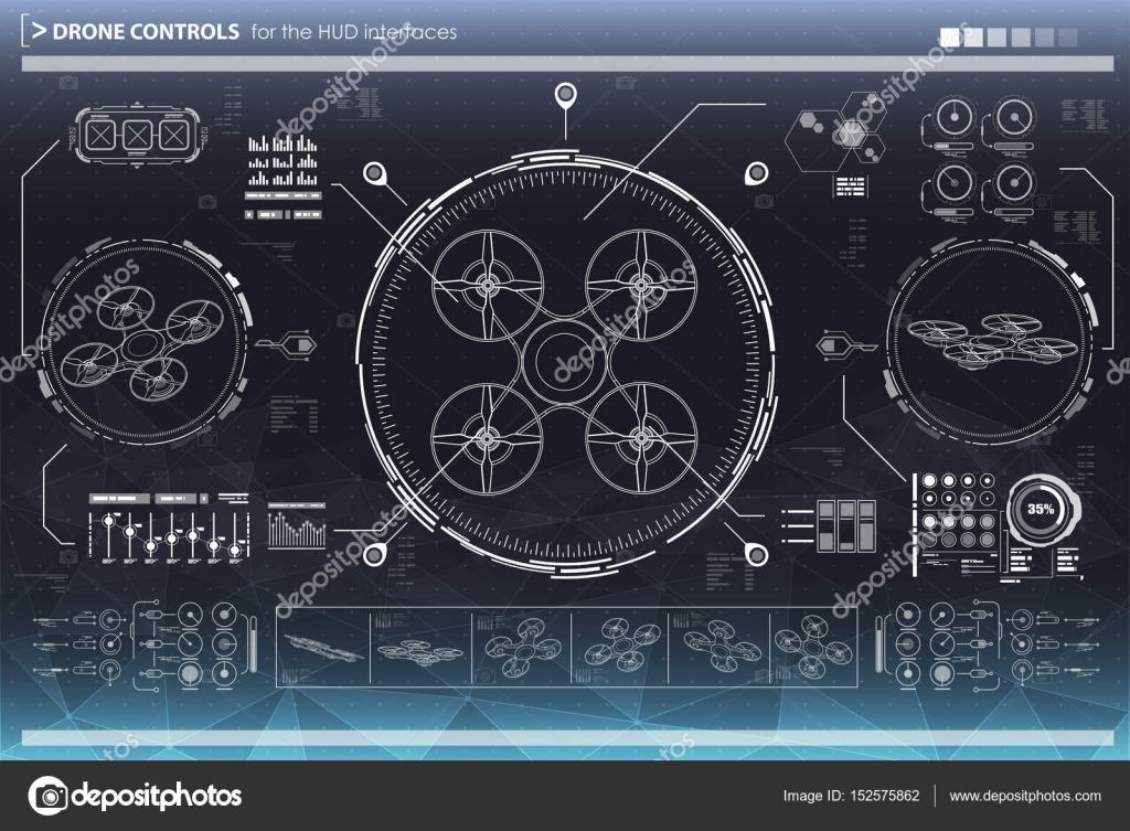Control elements for the interfaces. HUD UI for drones. Futuristic ...