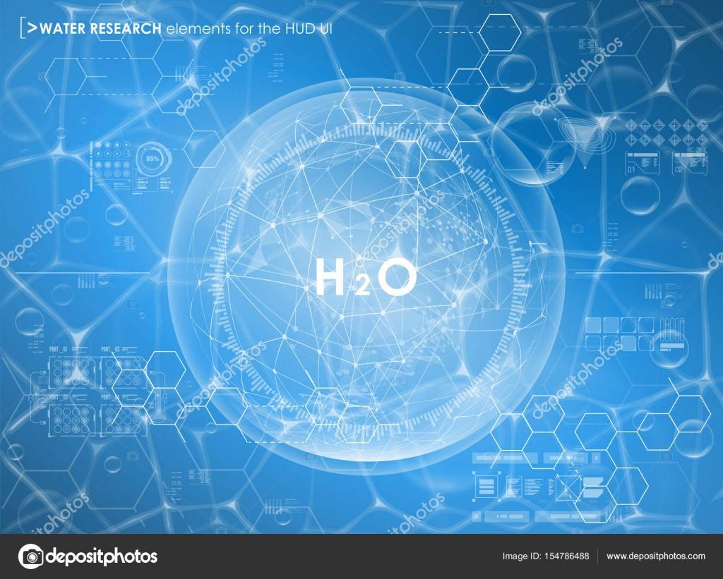 Fondo de investigación de agua con elementos de Hud. Interfaz de ...