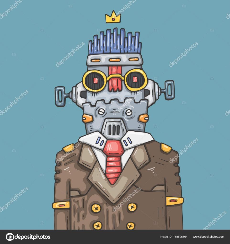 Cartoon Buro Roboter Lustige Roboter Manager Stockvektor C Hiro