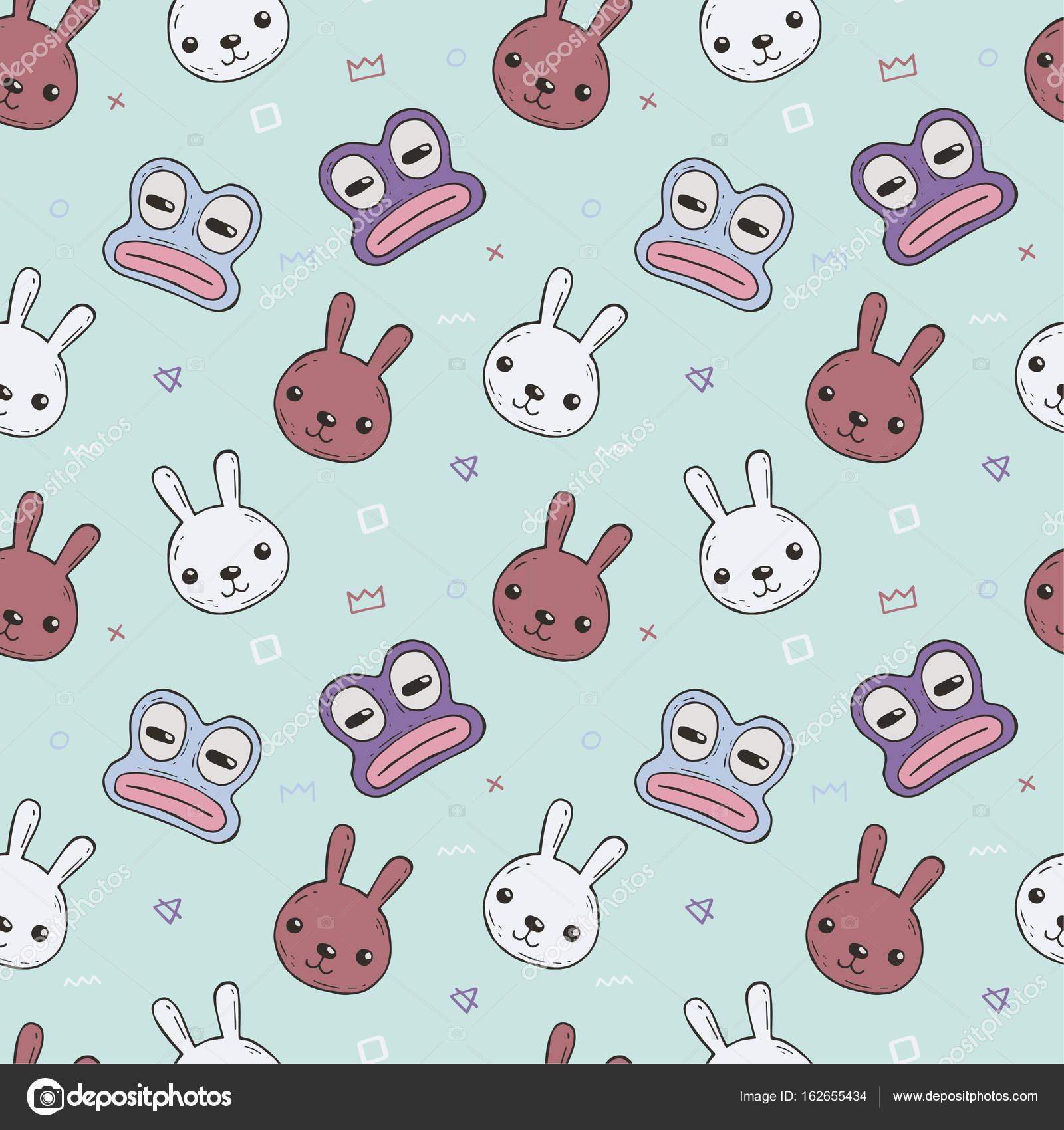 Niedliche Musterdesign mit Cartoon Hasen und Frösche. Muster mit ...