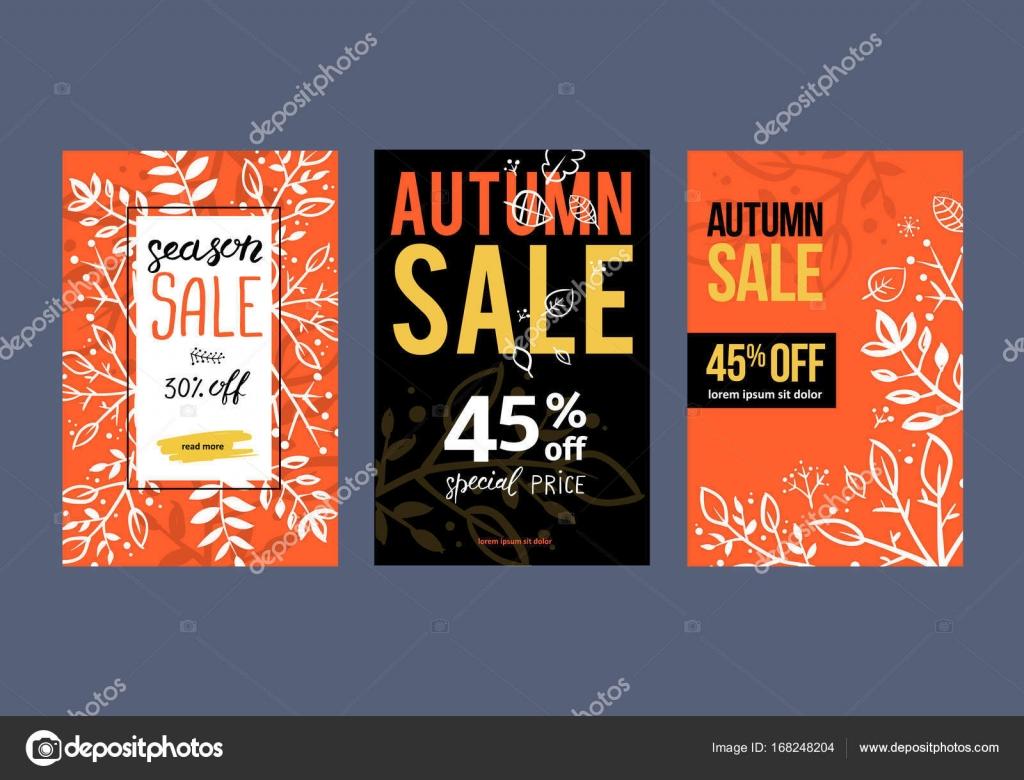 Otoño plantilla de fondo de venta. Cartel, tarjeta, etiqueta, banner ...