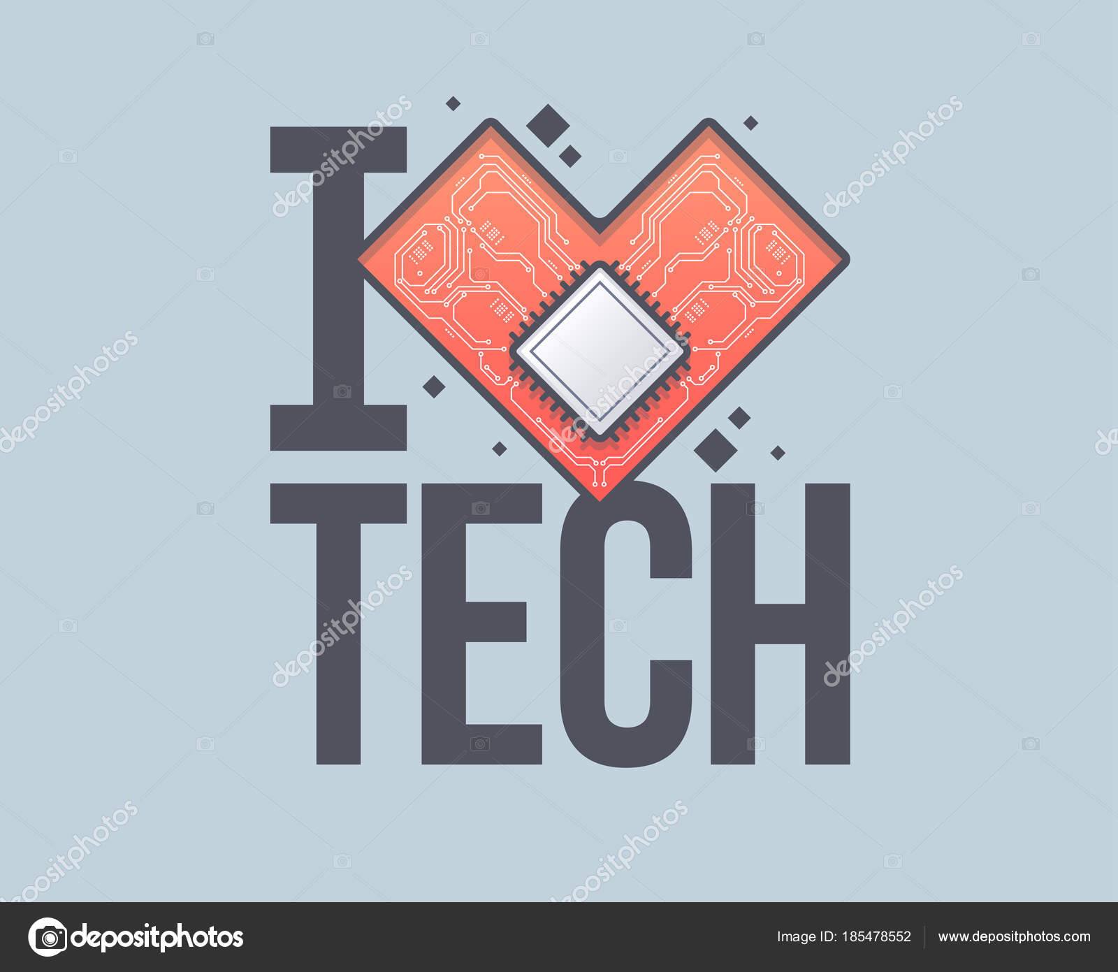 Vector Circuit Board Background With Heart Technology Concept Place For Text Template An Inscription I Love Tech