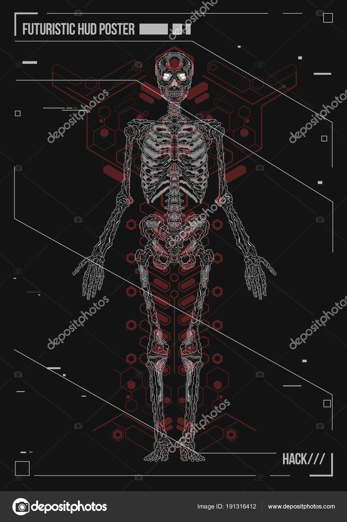 Portada o cartel diseño cuerpo humano con elementos futuristas de ...