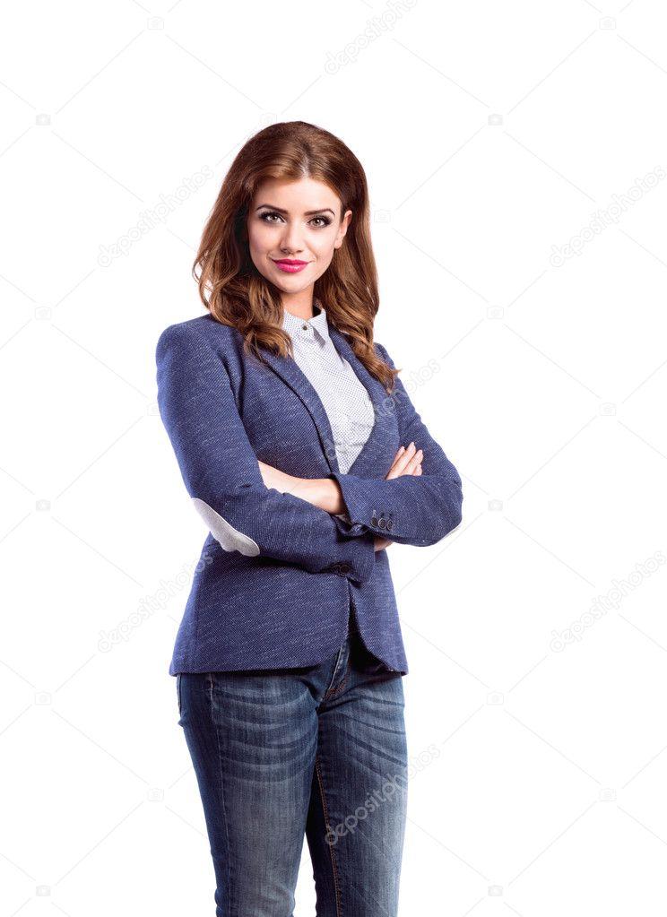 online store 1f1b0 08ab6 Donna in jeans e giacca blu, studio colpo, isolato — Foto ...