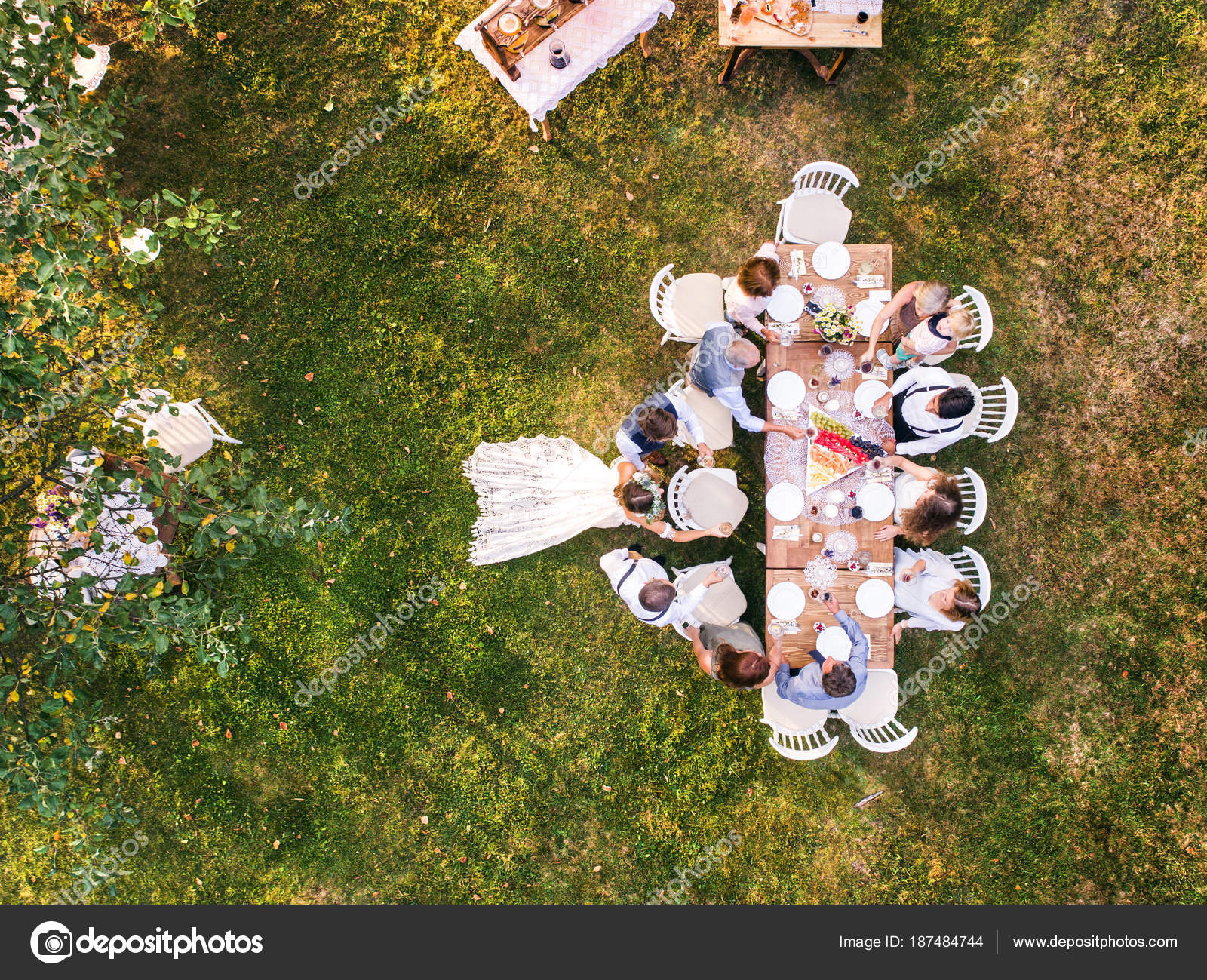 Wedding Reception Outside In The Backyard Stock Photo Halfpoint