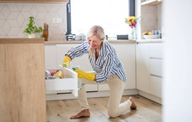Portrait of senior woman cleaning kitchen cabinet doors indoors at home.
