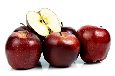 Fresh red apple on a white background