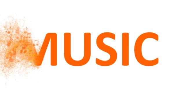 Slovo hudba je tvořena řadou hudebních not. hudební poznámky