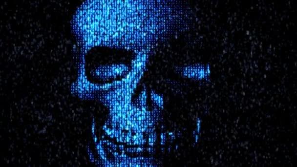 Danger in the Internet. Malicious code hacker. Skull
