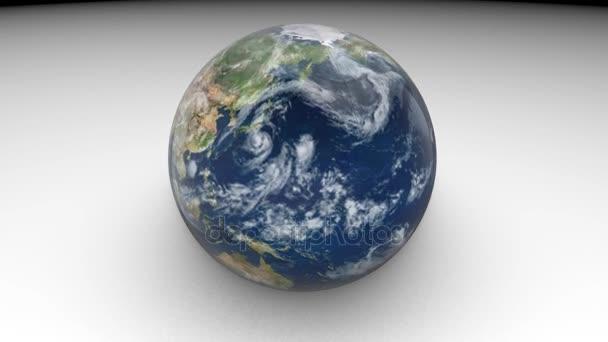 3D-Modell des Planeten Erde. Erde dreht sich auf weißem Hintergrund