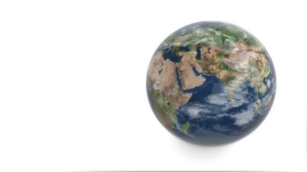 3D model planety země. Země se otáčí na bílém pozadí