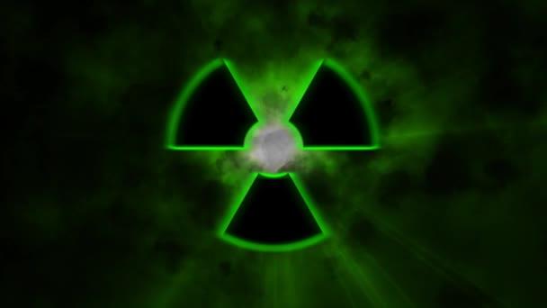 Zeichen für Radioaktivität. Ein radioaktiven Zeichen emittiert Strahlung und viel Licht
