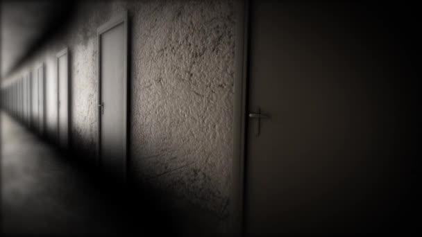 Dark hallway with doors. The terrible corridor \u2014 Stock Video & Dark hallway with doors. The terrible corridor \u2014 Stock Video ...