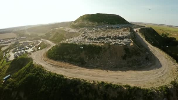 City dump household waste. Flight over the landfill. Burial of domestic waste.