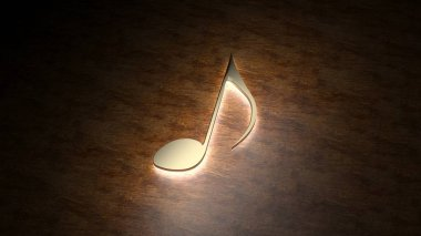 Golden musical note glows on the table. The magic of music. 3D illustration.