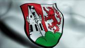 Fotografie 3D Illustration einer wehenden Wappenfahne von Germering (Deutschland))