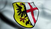 Fotografie 3D-Illustration einer wehenden Wappenfahne von Memmingen)
