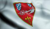 Fotografie 3D-Illustration einer wehenden Wappenfahne von Straubing)