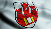 Fotografie 3D-Illustration einer wehenden Wappenfahne von Weilheim in Oberbayern)