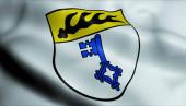 Fotografie 3D-Illustration einer wehenden Wappenfahne von Weilheim an der Teck (Deutschland))