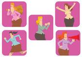Sada pěti snímků s kulatým podnikání žen