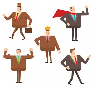Set of square businessmen