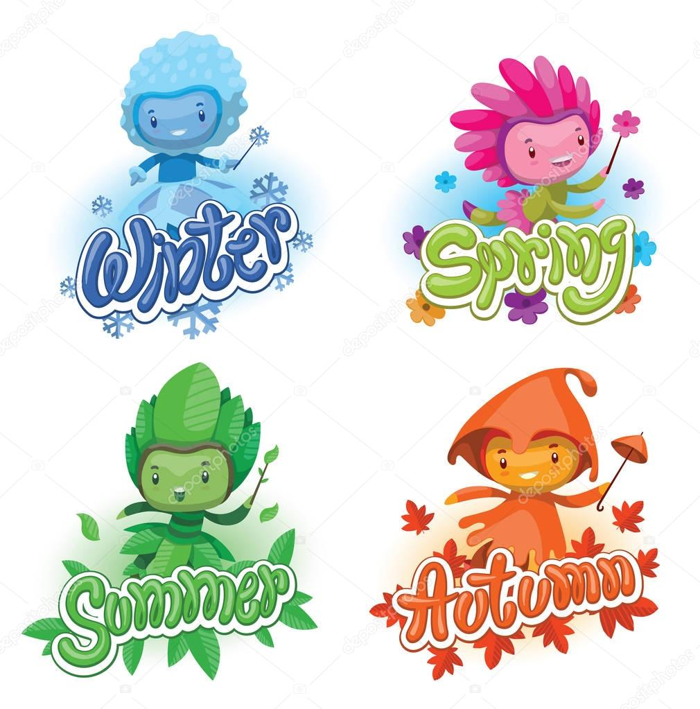 Set of emblems with cute fairies of the seasons