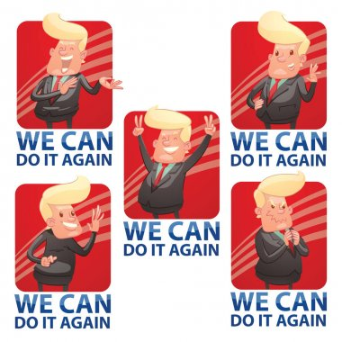 Set of square red emblems with funny politicians