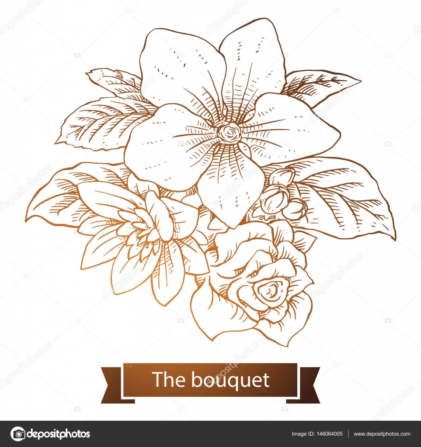 Bouquet Violet Rose Chrysanthemum Line Art Stock Vector