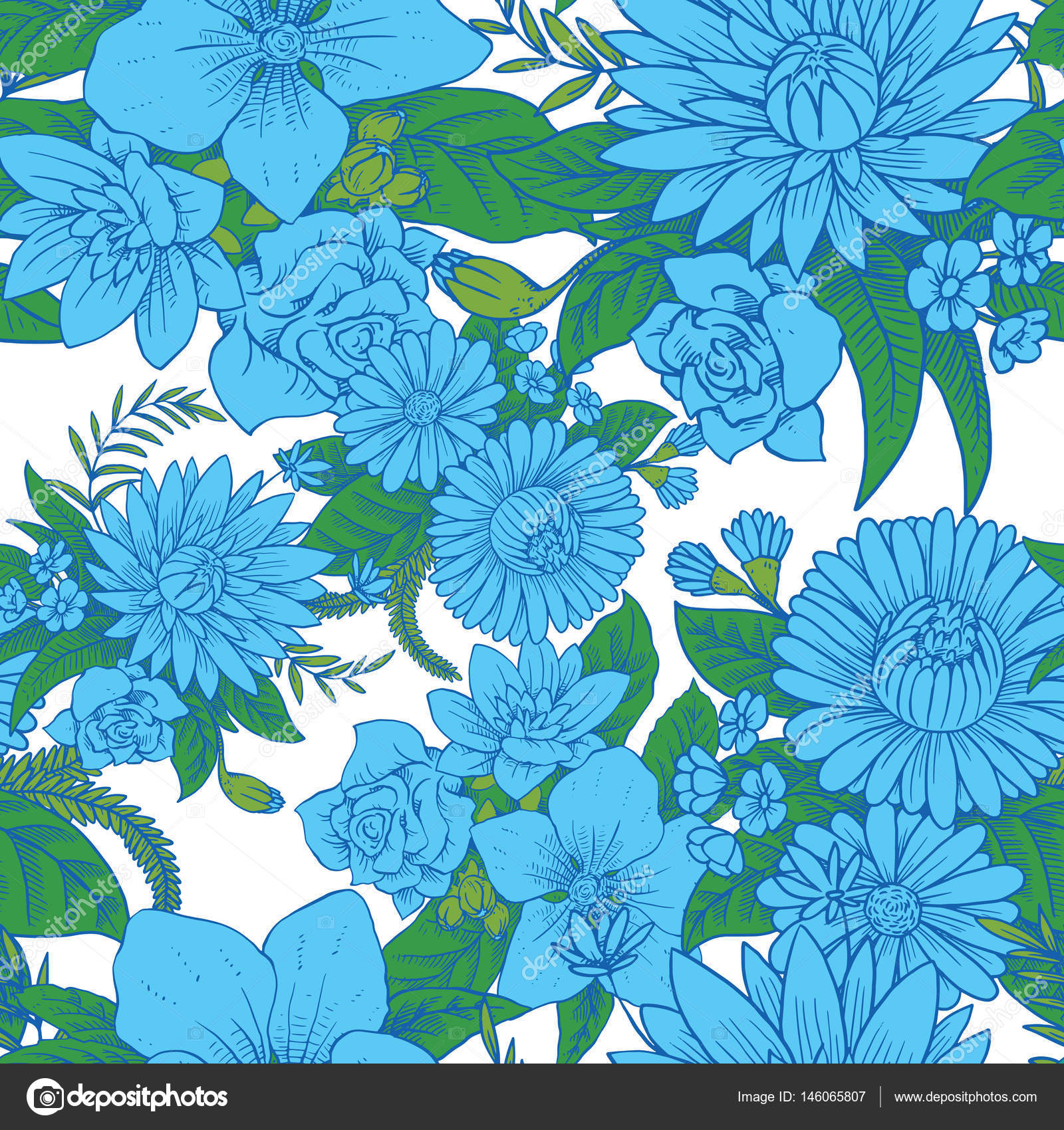 Seamless floral pattern with beautiful blue flowers stock vector seamless floral pattern with beautiful blue flowers stock vector izmirmasajfo
