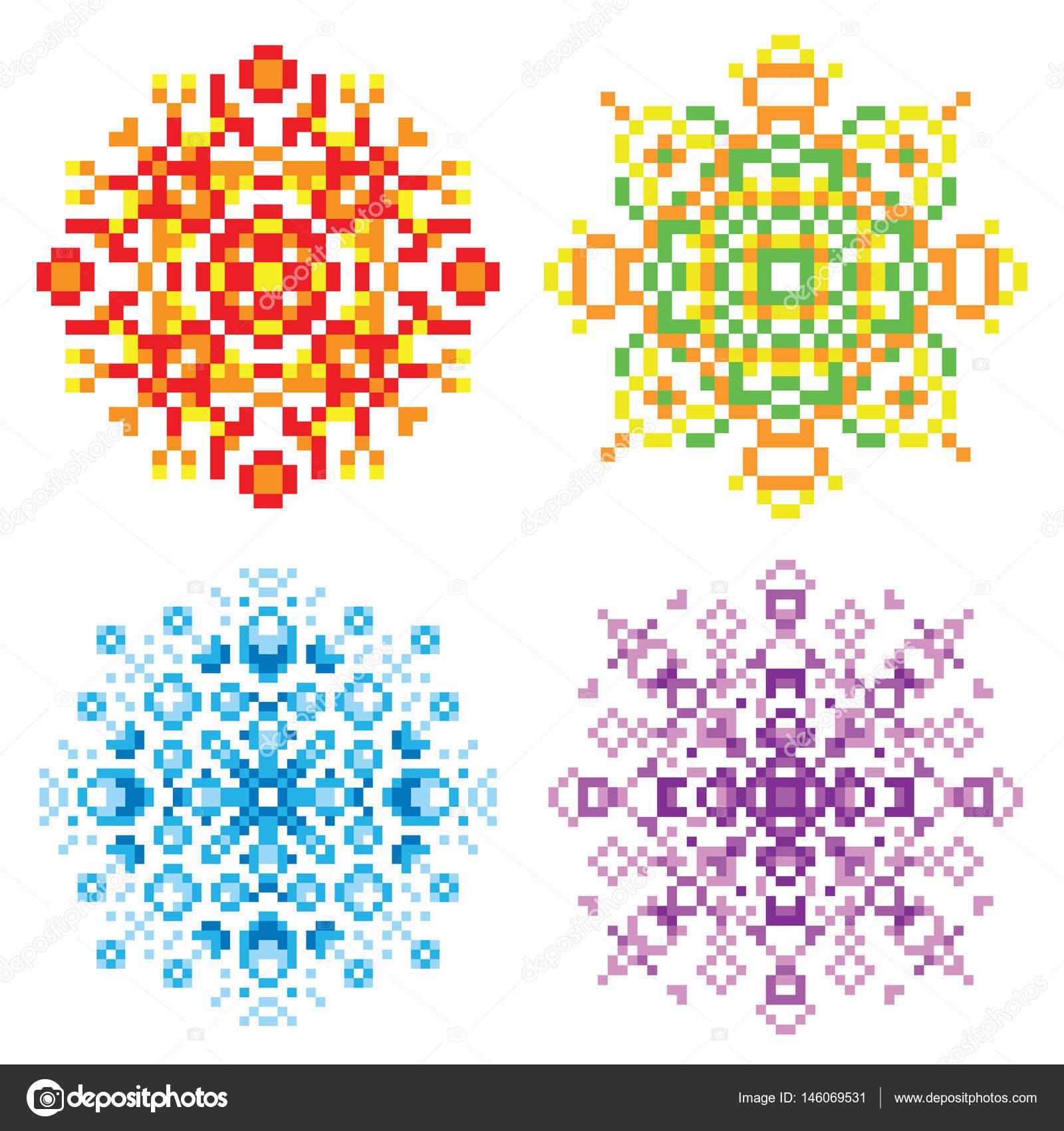 Conjunto de píxeles rojo, verde, azul, morado los patrones ...