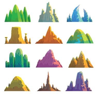 Set of twelve various mountains
