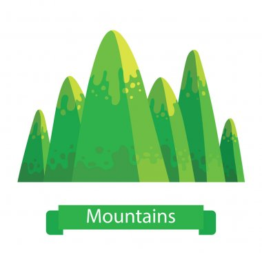 Green mountain with six rounded peaks