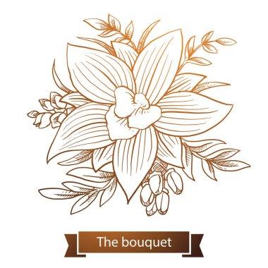 Bouquet: orchids, Line art
