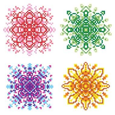 Set of pixel oriental red, green, purple, brown patterns