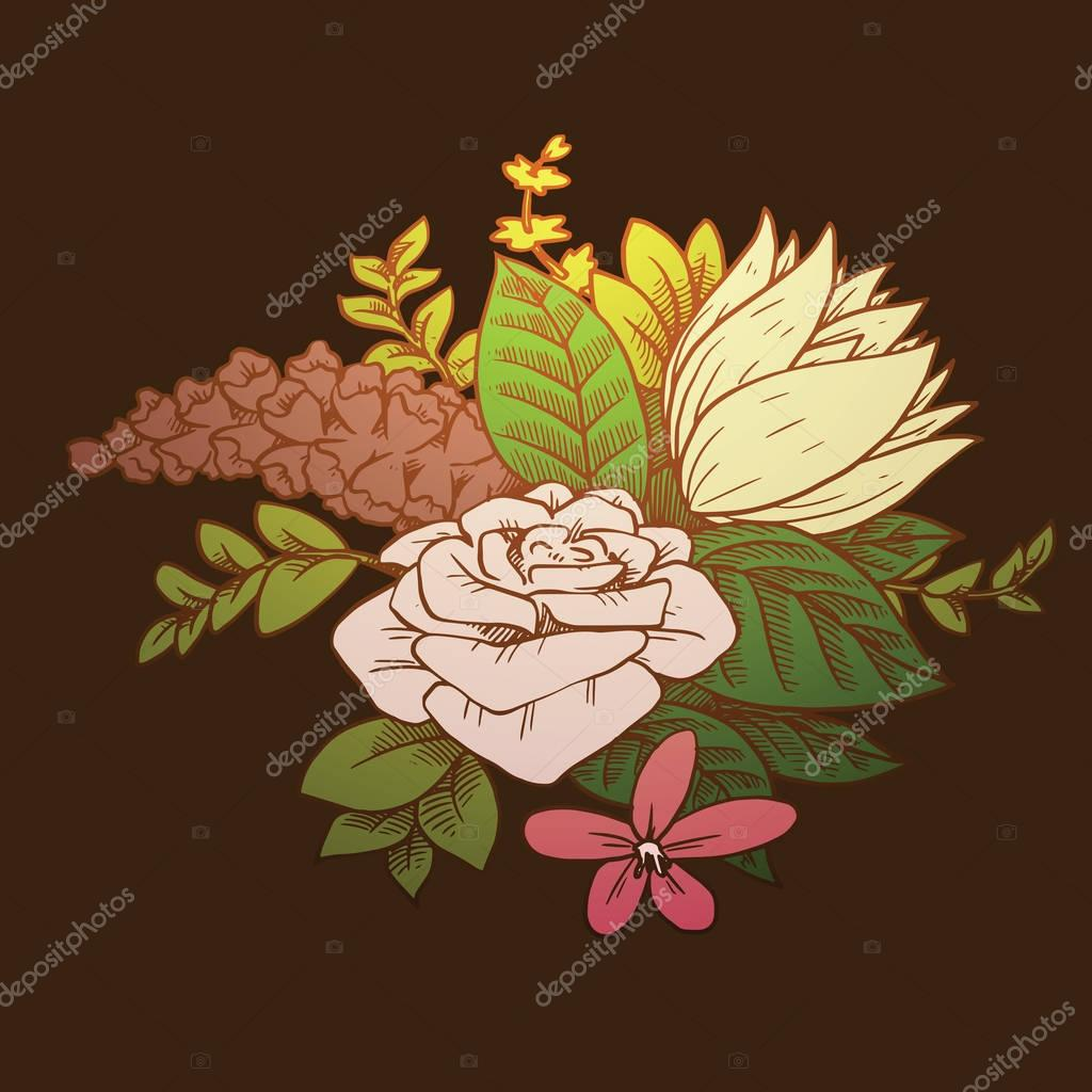 Bouquet: rose, water lily, color image