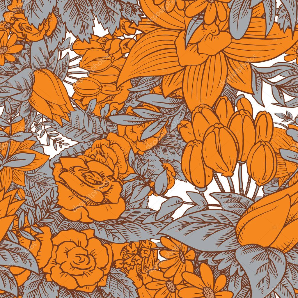 Seamless floral pattern with beautiful orange flowers