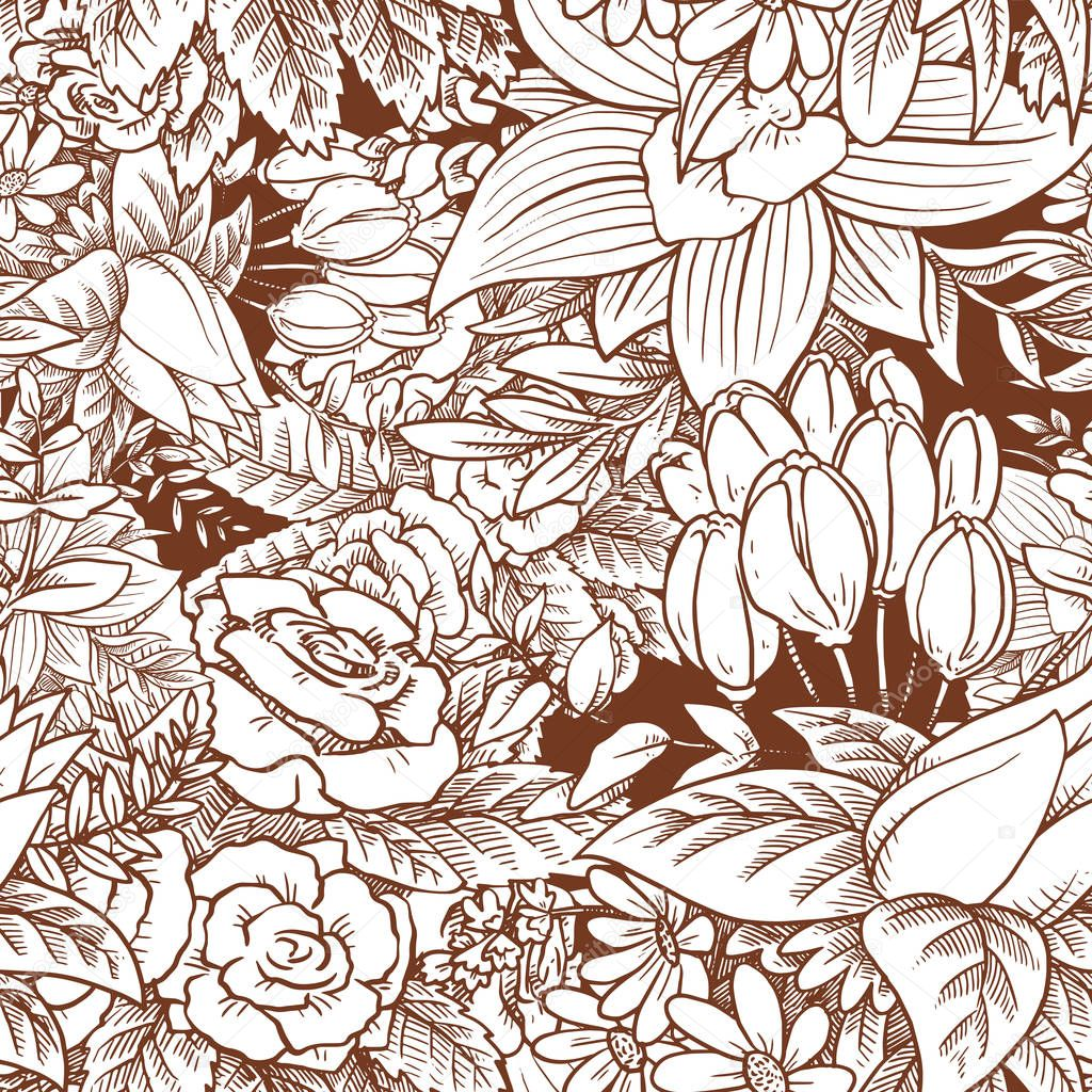 Seamless floral pattern with beautiful white flowers on dark bac