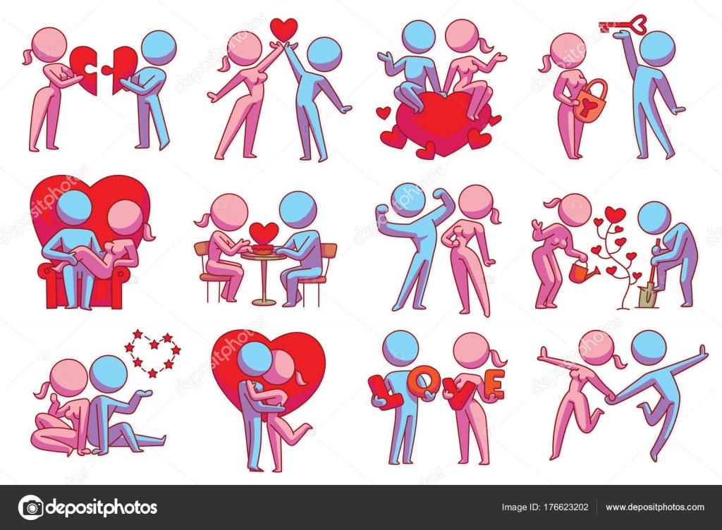 Satz von zwölf verliebte Paare mit verschiedenen Aktionen, Farbbild ...